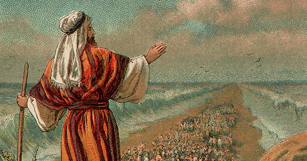 Moses parts the Red Sea and leads the Israelites out of Egypt