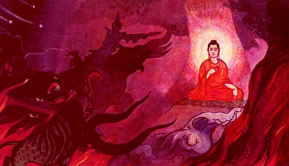 Buddha tempted by the evil one, Mara