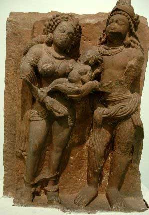 Devaki and Vasudeva holding baby Krishna, 5th cent. CE, Deogarh