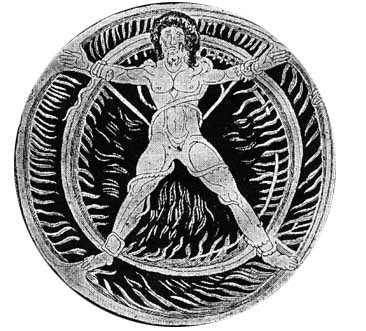 The ancient Greco-Roman god Ixion in cruciform
