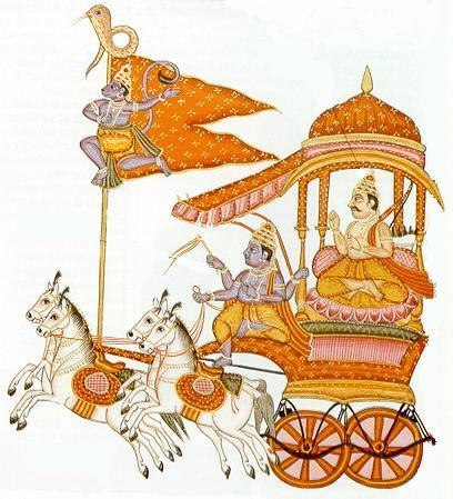 Arjuna and Krishna riding in their chariot, as depicted in 'The Mahabharata'