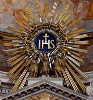 Sun burst Catholic monstrance IHS