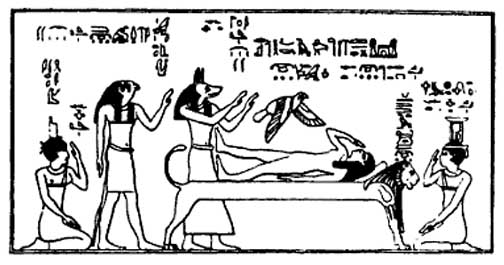 isis flutters as a bird above osiris conceiving horus