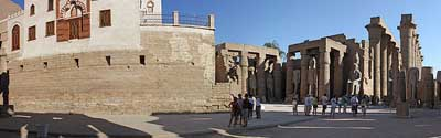 Luxor temple with mosque built over the ruins