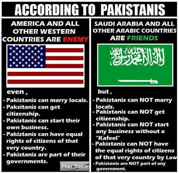 Pakistanis in the U.S. versus Saudi Arabia