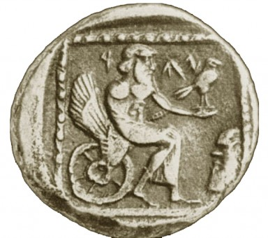 Apparently YHWH as 'Yahu' in a winged 'throne chariot,' holding a bird. Coin from Gaza, 4th century BCE.