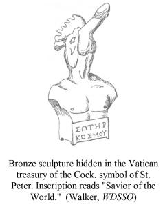 Bronze sculpture hidden in the Vatican treasury of the Cock, sym
