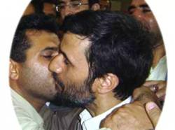 Iranian president kissing man