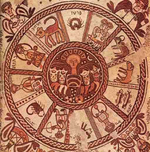 Zodiac mosaic from Jewish temple at Beth Alpha, Israel, 6th century AD/CE