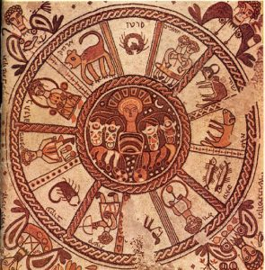 Mosaic from the floor of a synagogue at Beit Alpha, Israel, c. 6th cent. AD/CE