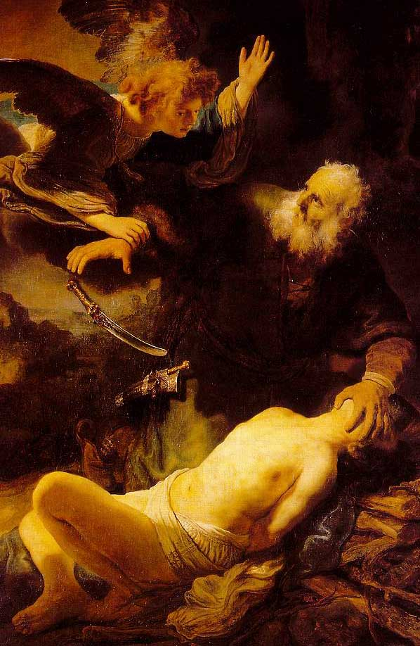 Abraham sacrificing Isaac; Rembrandt, 1635