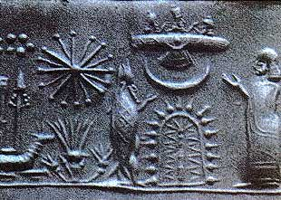 Heavenly host of the Anunnaki; Mesopotamian cylinder seal