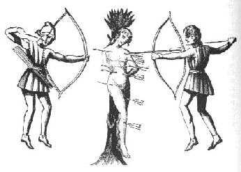 Medieval European image of Archers Shooting into Victim Tied to Tree