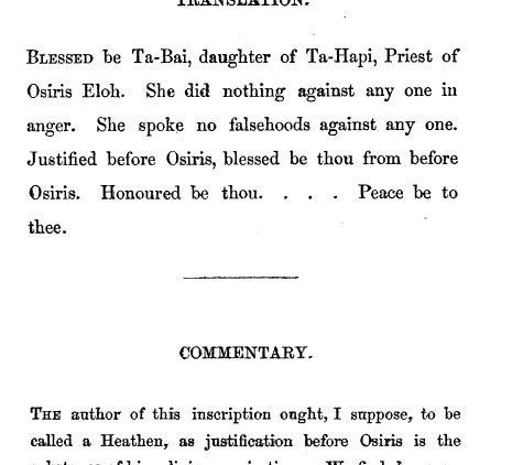 The Carpentras Inscription in Phoenician, which says, in part: 'Blessed be Ta-Bai, daughter of Ta-Hapi, Priest of Osiris Eloh... Justified before Osiris...'