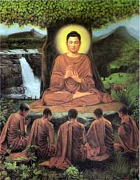 Buddha and his first five disciples