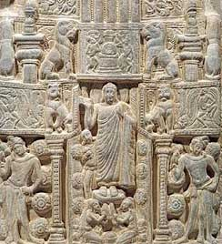 'Buddha's Descent from the Heaven of the Thirty-Three Gods and other life scenes, Nagarjunakonda, 3rd cent. AD/CE