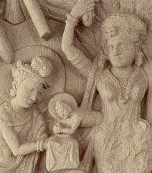 Birth of Buddha through the side of Maya