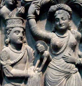 Buddha born through the side of his mother, Maya. Gandharan frieze, 2nd cent. AD/CE