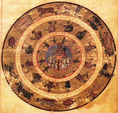 Miniature zodiac, with Helios (Sun) as Christ, surrounded by the apostles, corresponding to the zodiacal signs; 813-820 AD/CE; Vaticanus graecus 1291