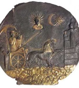 Medallion of Cybele in chariot, under the sun, moon and star; 2nd cent. BCE, Ai Khanoum, Afghanistan (Singh, 94)