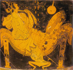 Danae impregnated by Zeus as a golden shower. Greek Red Figure ware, c. 5th cent. BCE
