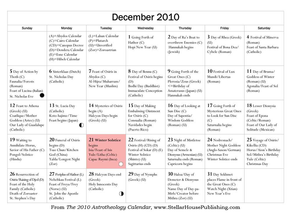 December from the 2010 Astrotheology Calendar - click to enlarge