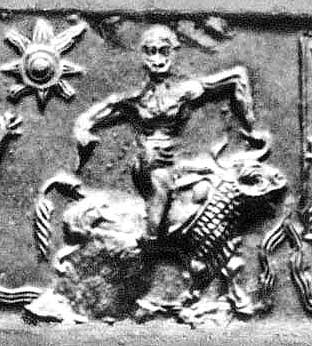 Gilgamesh wrestling the Bull of Heaven; cylinder seal