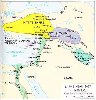 Hittite and Mitanni kingdoms around 1400 BCE