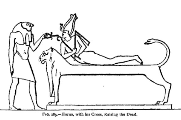 Horus raising Osiris from the Dead