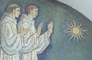 Irish monks worship sun image