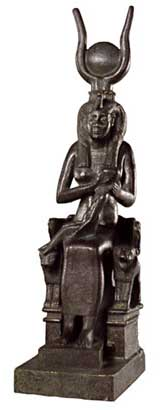 Isis nursing Horus on Throne, Bronze Statue, Egyptian Late Period, 7th-6th cents. BCE