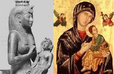 Isis suckling Horus, Mary suckling Jesus