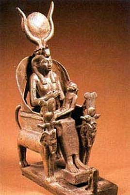 Isis with moon and lunar horns nursing Horus