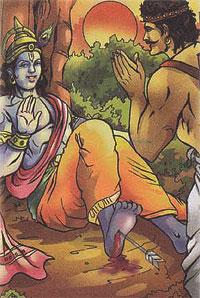 Krishna's foot is pierced by the arrow of hunter Jara, killing him