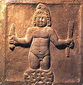 Mithra, born from a rock holding a dagger and a torch