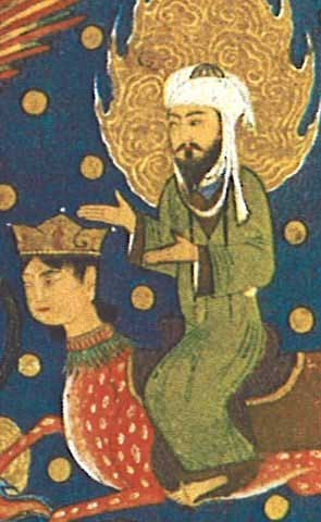 Mohammed riding his magical steed; from 'The Apocalypse of Muhammad,' 1436, Herat, Afghanistan; Bibliotheque Nationale, Paris