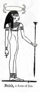 Neith-Isis, Virgin Mother Goddess of Egypt, with shuttle on her head; 'A Handbook for Travellers in Lower and Upper Egypt.' London: John Murray, 1888; p. 082a
