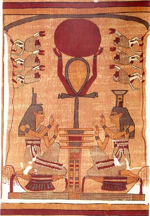 Osiris as the Djed Pillar holding the Disc of the Sun God Ra, surrounded by Isis and Nephthys, Egyptian Book of the Dead, Ani Papyrus