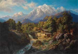 Paul Linke 'Landschaft aus Südtirol mit Blick auf die Marmolata'