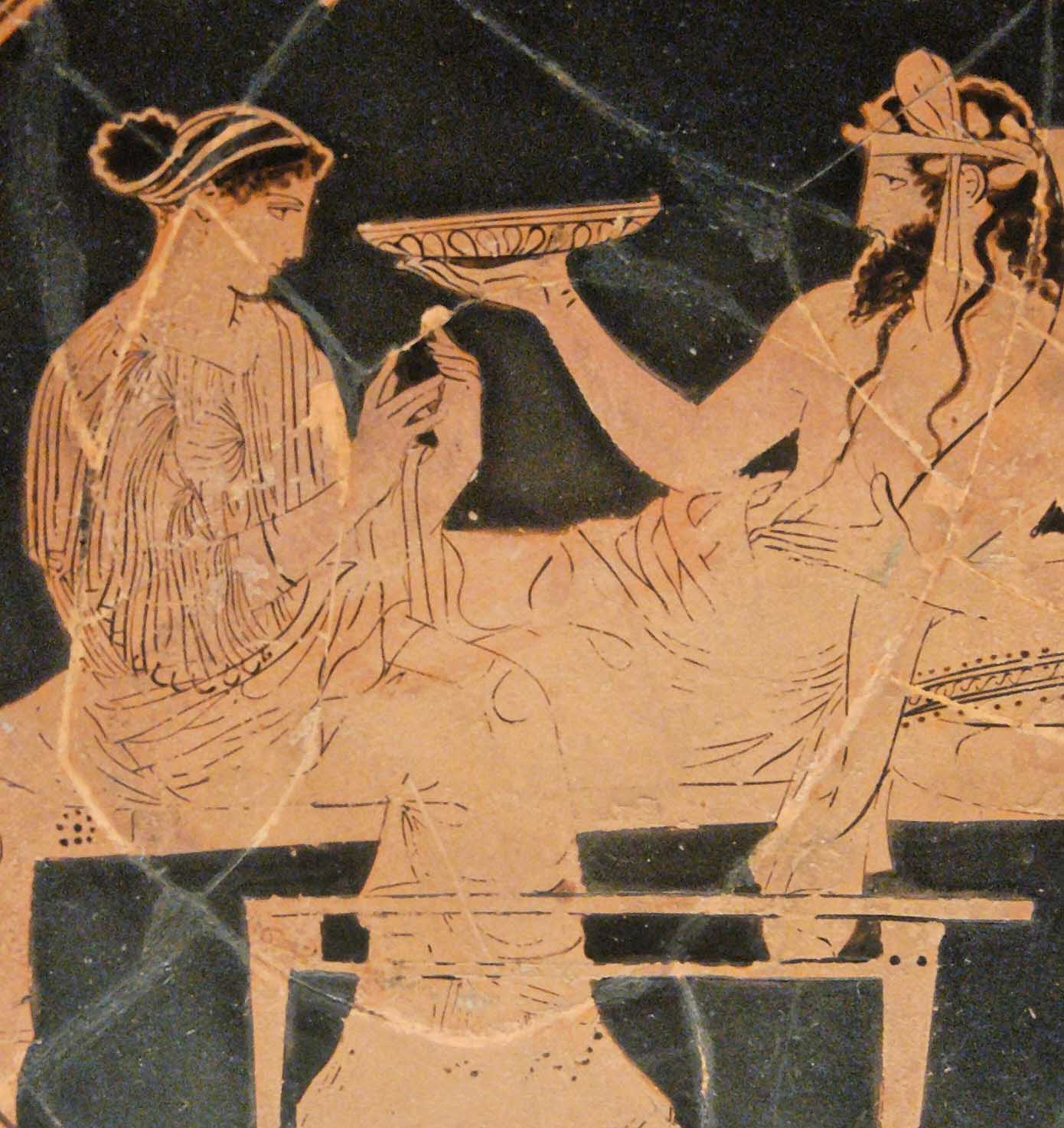 Persephone and Hades; Attic red-figured kylix, c. 440-430 BC.; Vulci, Italy (Photo: Marie-Lan Nguyen)