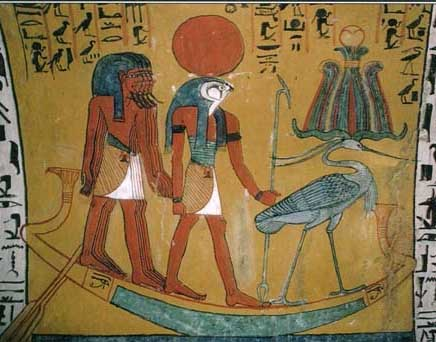 Egyptian sun god Ra in his solar boat, c. 1200 BCE