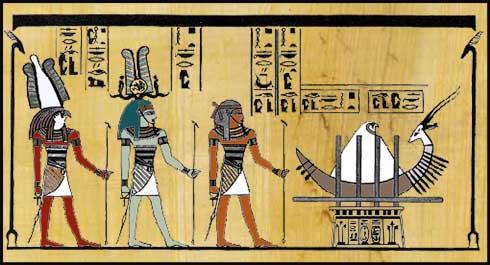 Sokar the baby sun at the Winter Solstice approached by three dignitaries, Ptah-Osiris-Sokar