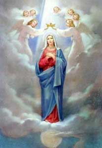 Virgin Mary adored in heaven