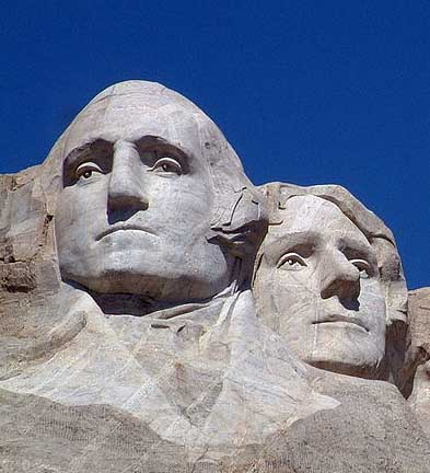 Washington and Jefferson immortalized at Mt. Rushmore